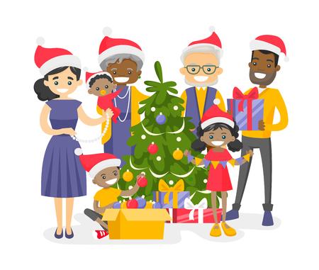 Feliz e feliz família multigeracional multirracial que decora a árvore de Natal.