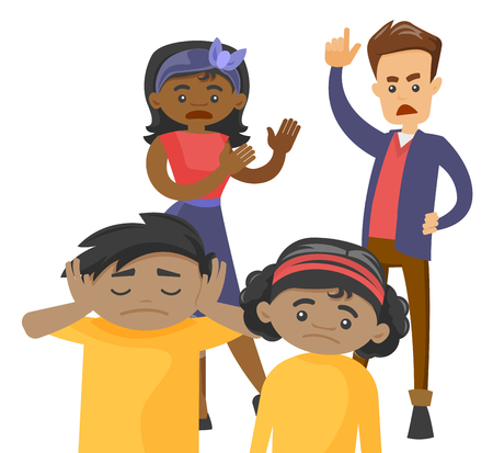 African mother and Caucasian white father scolding their mulatto kids. Kids feel sad while their multiracial parents quarreling. Multiracial mixed family concept. Vector isolated cartoon illustration.