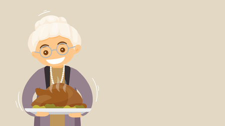 Christmas and Thanksgiving inspired winter Holiday card with caucasian senior grandmother holding Thanksgiving turkey. Vector flat design Holiday illustration for poster, card, banner with copyspace.