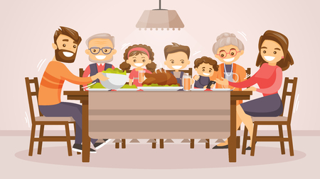 Christmas and Thanksgiving inspired winter Holiday card with caucasian family celebrating Thanksgiving at the table. Vector flat design family Holiday weekend illustration for poster, card, banner.