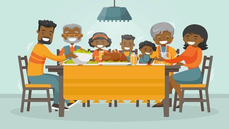 Christmas and Thanksgiving inspired winter Holiday card with african family enjoying Thanksgiving turkey at the table. Vector flat design family Holiday weekend illustration for poster, card, banner.