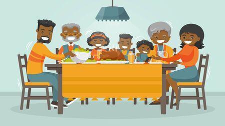Navidad y Acción de Gracias inspiraron la tarjeta de vacaciones de invierno con la familia africana disfrutando del pavo de Acción de Gracias en la mesa. Vector el ejemplo plano del fin de semana del día de fiesta de la familia del diseño para el cartel, tarjeta, bandera.