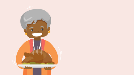 Christmas and Thanksgiving inspired winter Holiday card with african senior grandmother holding Thanksgiving turkey. Vector flat design Holiday illustration for poster, card, banner with copyspace.