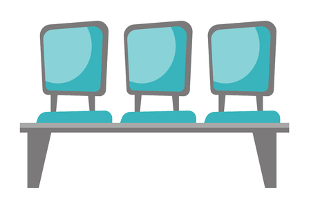 Row of blue chairs vector cartoon illustration isolated on white background. Illustration