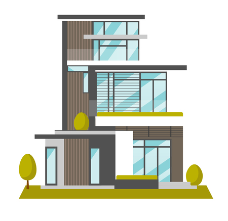Big modern house with many windows vector cartoon illustration isolated on white background.