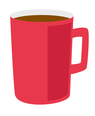 Red coffee cup vector cartoon illustration isolated on white background. Ilustrace