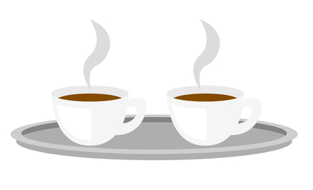 Two white coffee cups with steam on tray vector cartoon illustration isolated on white background.