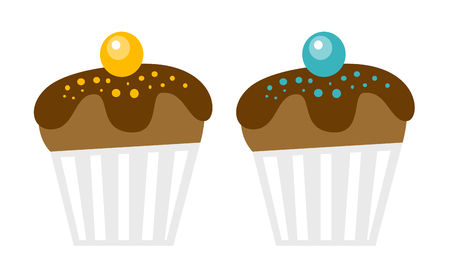 Fresh chocolate decorated muffins vector cartoon illustration isolated on white background. Çizim