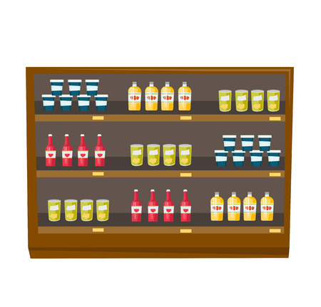 Shelves of grocery store with various products vector cartoon illustration isolated on white background.
