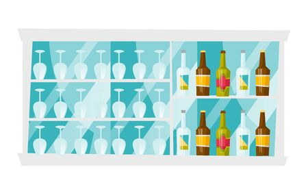 Bar shelves with lots of bottles with alcohol drinks and wine glasses vector cartoon illustration isolated on white background.