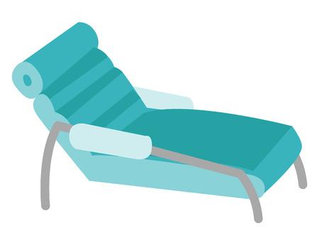 心理学者の患者に対する医療のソファ。患者のための医療家具。ベクトル漫画イラスト白背景に分離されました。  イラスト・ベクター素材