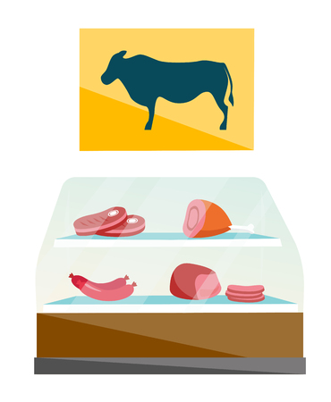Showcase with red meat products in butcher shop vector cartoon illustration isolated on white background. Illustration