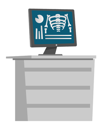 X-ray image of the patients bones on a computer screen. Medical equipment. Vector cartoon illustration isolated on white background.