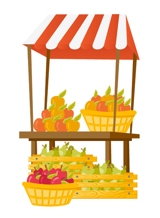 Stand for selling fresh fruit and vegetables. Street cart with boxes and baskets full of apples and pears. Vector cartoon illustration isolated on white background. Illustration