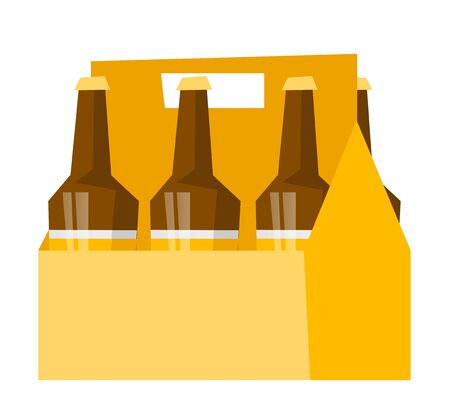 Cardboard six-pack with bottles of beer vector cartoon illustration isolated on white background.