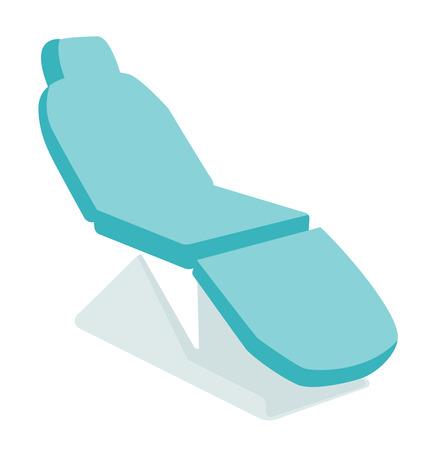 歯科用の椅子。医療家具。ベクトル漫画イラスト白背景に分離されました。