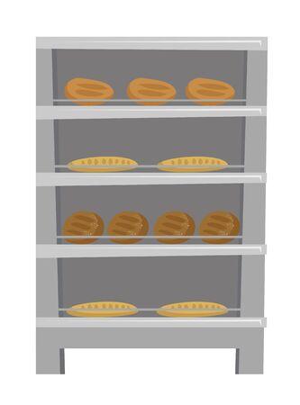 様々 な焼きたてのおいしいパンやパン ベーカリー ベクトル漫画イラストの棚に表示される白い背景上に分離。
