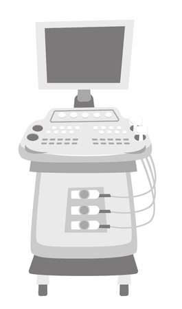 Portable ultrasound diagnostic machine. Medical diagnostic equipment. Vector cartoon illustration isolated on white background.