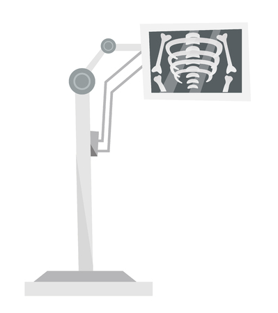Medical x-ray machine with the image of skeleton. Medical diagnostic equipment. Vector cartoon illustration isolated on white background. Çizim