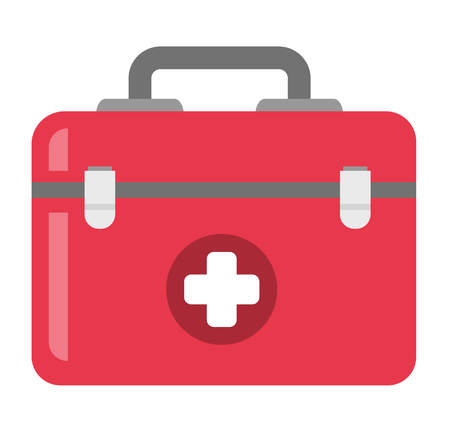 First aid kit vector cartoon illustration isolated on white background. Illustration