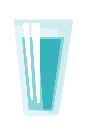 Glass of water vector cartoon illustration isolated on white background. Ilustração