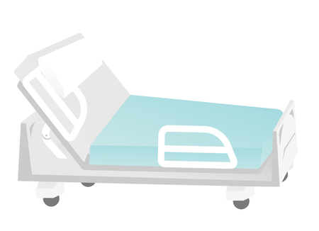 Empty mobile medical bed. Medical equipment. Vector cartoon illustration isolated on white background.