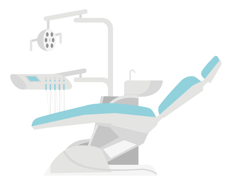 Dental chair with different dental instruments and tools. Medical equipment. Vector cartoon illustration isolated on white background.