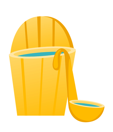 Opened wooden bathtub in a barrel shape with ladle. Sauna accessories. Vector cartoon illustration isolated on white background.