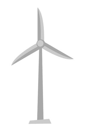 Wind turbine producing alternative energy. Vector cartoon illustration isolated on white background.