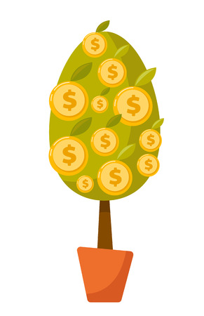 Money tree with dollar coins in a pot. Vector cartoon illustration isolated on white background.