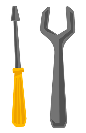 Wrench and screwdriver vector cartoon illustration isolated on white background. Illustration