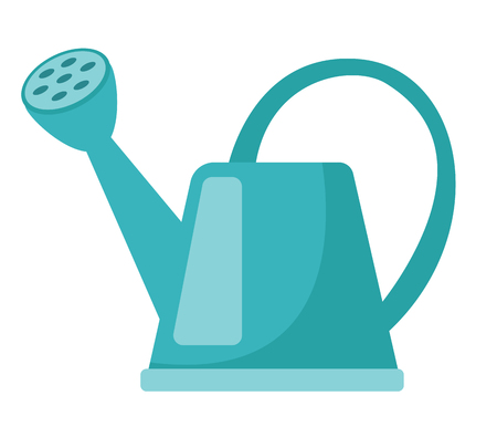 Blue watering can. Vector cartoon illustration isolated on white background.