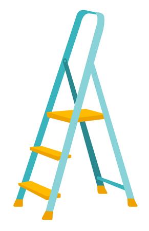 Folding step ladder. Vector cartoon illustration isolated on white background.