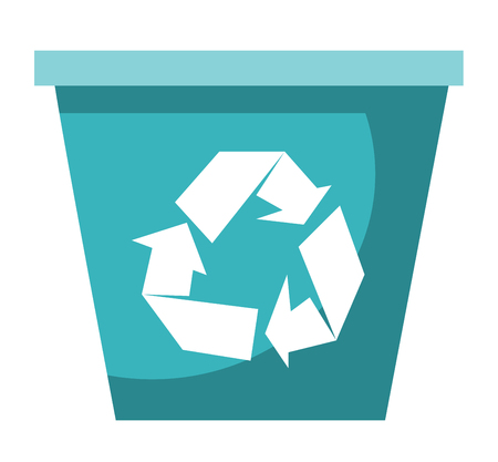 Empty blue plastic recycle bin vector cartoon illustration isolated on white background.