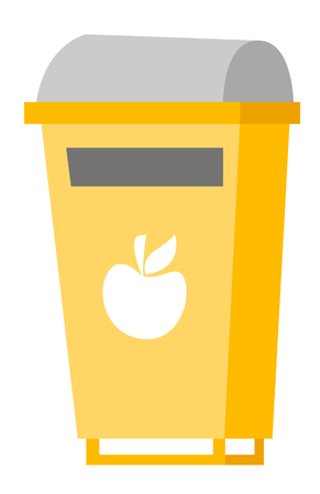 Yellow rubbish bin for food waste. Waste segregation and garbage recycling concept. Vector cartoon illustration isolated on white background.