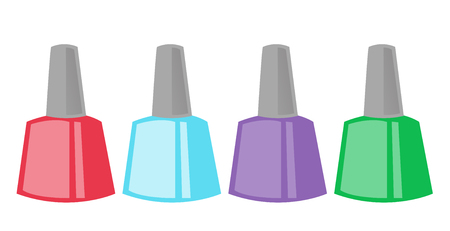 Colour nail polish bottles. Beauty accessories for manicure. Vector cartoon illustration isolated on white background. Illustration