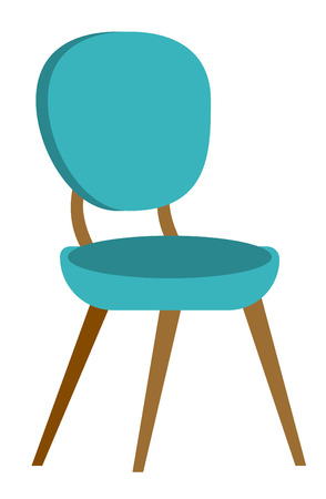 Blue modern comfortable chair for office and home vector cartoon illustration isolated on white background.