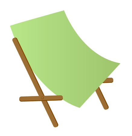 collapsible: Green wooden beach chaise longue vector cartoon illustration isolated on white background.