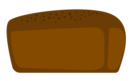 Freshly baked black bread vector cartoon illustration isolated on white background. Çizim