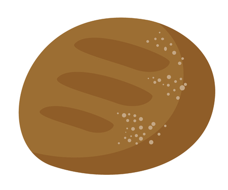 Freshly baked round black bread vector cartoon illustration isolated on white background.
