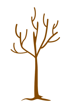 Bare tree without leaves. Dead and dry tree. Vector cartoon illustration isolated on white background.