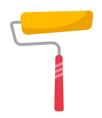 Yellow paint roller vector cartoon illustration isolated on white background.