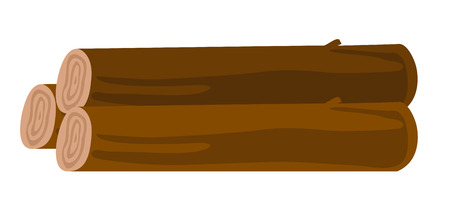 Wooden logs stacked in a pile. Chopped logs stacked in a heap. Vector cartoon illustration isolated on white background.