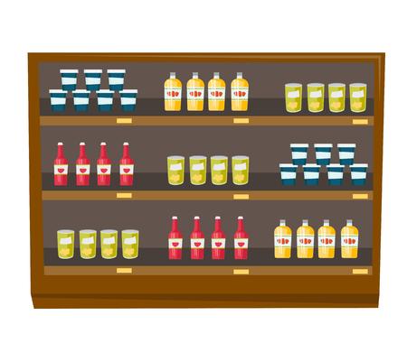 TAgères de l & # 39 ; épicerie avec divers produits illustration vectorielle de dessin animé isolé sur fond blanc Banque d'images - 88349422