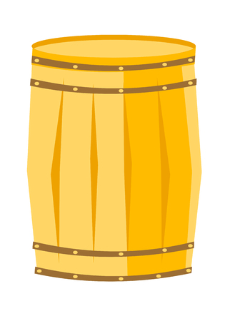 Wooden barrel with iron rings vector cartoon illustration isolated on white background.