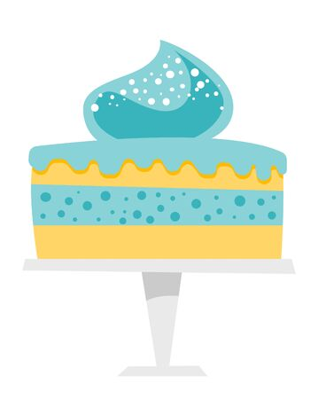 Vanilla cake with blue frosting on a cake stand vector cartoon illustration isolated on white background.