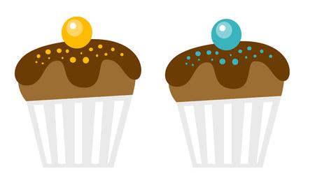 Fresh chocolate decorated muffins vector cartoon illustration isolated on white background. Illustration
