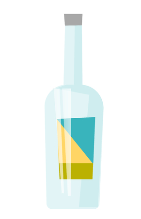 Glass transparent bottle for alcohol with label vector cartoon illustration isolated on white background.