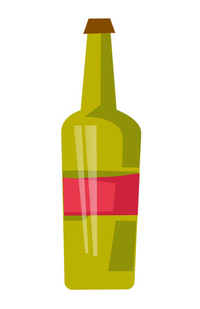 Red wine bottle with label vector cartoon illustration isolated on white background.