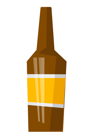 Glass beer brown bottle with label vector cartoon illustration isolated on white background.